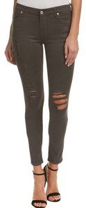 7 For All Mankind Ripped Distressed Coated Skinny Jeans-Coated