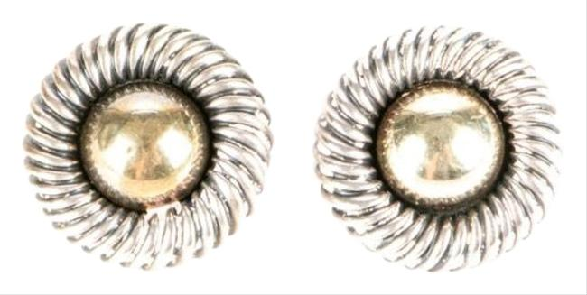 Item - Silver and Gold Cable Button Earrings