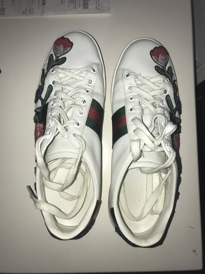 Gucci Floral Embroidered Sparkle White, Red, Green Athletic Image 4