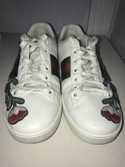 Gucci Floral Embroidered Sparkle White, Red, Green Athletic Image 5