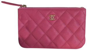 Chanel NEW Chanel O Case Zip Pouch Caviar Pink Gold 19c