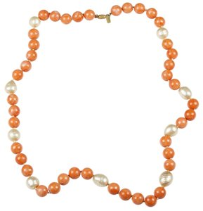 Kenneth Jay Lane Kenneth Lane Faux Pink Coral and Faux Baroque Pearl Necklace