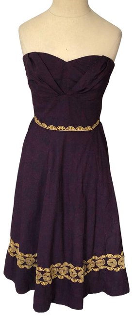 Item - Purple Girls From Savory Embroidered Strapless Cocktail Dress Size 4 (S)
