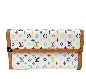 Louis Vuitton Authentic Porte tresor international trifold long wallet monogram multicolor white