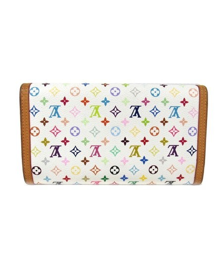 Louis Vuitton Authentic Porte tresor international trifold long wallet monogram multicolor white Image 3