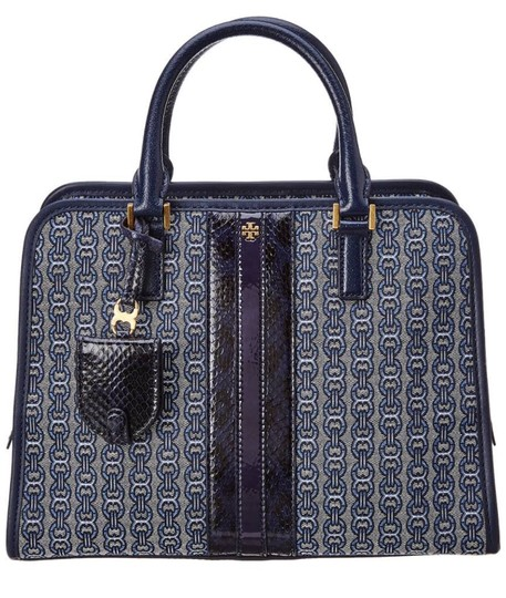 Preload https://img-static.tradesy.com/item/25918230/tory-burch-gemini-link-jacquard-snakeskin-blue-leather-satchel-0-0-540-540.jpg