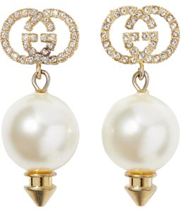 Gucci NEW GUCCI GG CRYSTAL LOGO DROP PEARL EARRINGS NEW