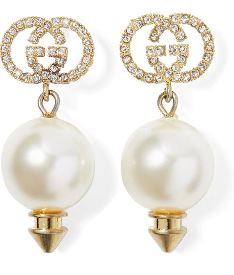 Gucci Pearl Gold Crystal New Logo Drop New Earrings