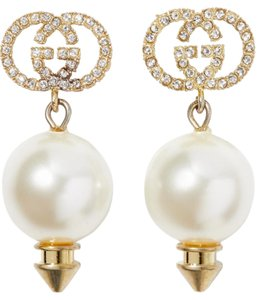Gucci Gucci Gold-tone pearl and crystal earrings