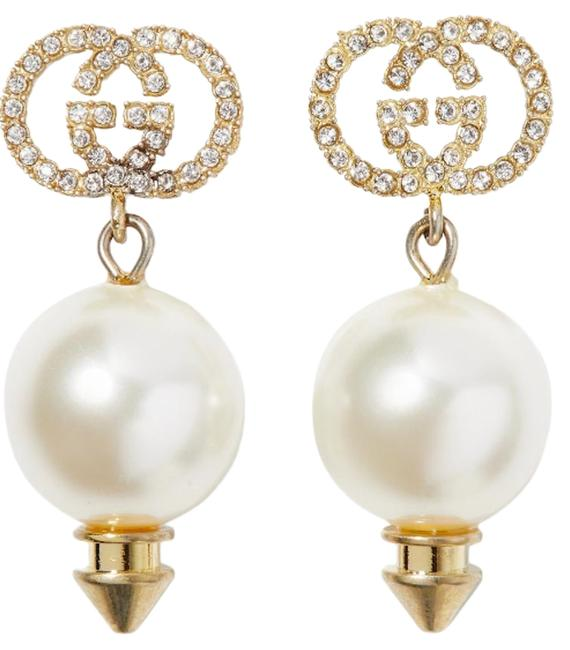 Item - Gold Ivory Crystal Gold-tone Pearl And Earrings