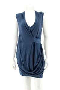 HD in Paris short dress Blue Jersey Knit Ruched Sleeveless Bodycon on Tradesy