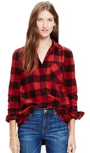 Madewell Button Down Shirt black red