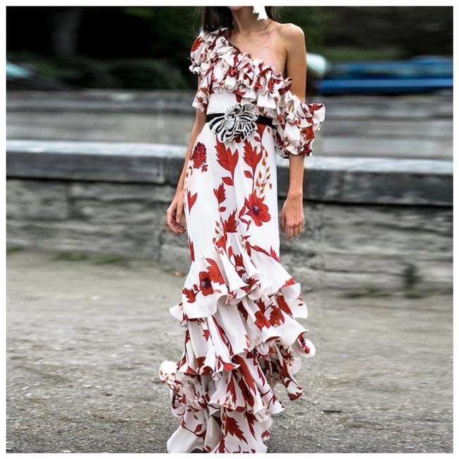 Item - Red & White The Kasara Floral Ruffle Long Casual Maxi Dress Size 4 (S)