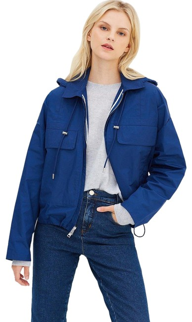Item - Blue (Nwt) Cropped Nylon Anorak with Hood Jacket Size 4 (S)