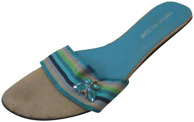 Item - Blue Suede Striped Butterfly Open Toe Slides Sandals Size US 8 Regular (M, B)