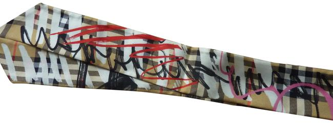 Item - Pale Antique Yellow (Gold) Scribble Check Silk Twill Twilly Slim Scarf/Wrap