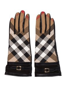 Burberry Burberry Leather Nova Check Buckle Gloves