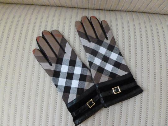 Burberry Burberry Leather Nova Check Buckle Gloves Image 1