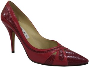 Jimmy Choo Snakeskin Two-tone Leather Classic Fun Red Pumps