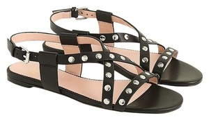 J.Crew Studded Strappy Buckled Black Sandals