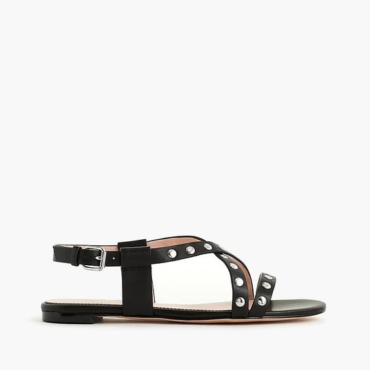 J.Crew Studded Strappy Buckled Black Sandals Image 1