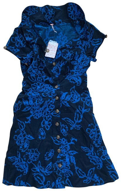 Item - Blue Navy Floral Mid-length Short Casual Dress Size 4 (S)