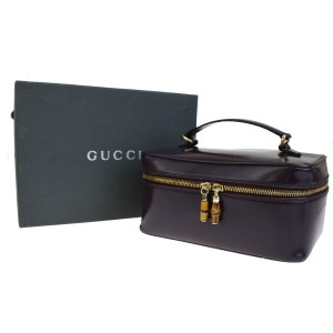 Gucci Authentic GUCCI Logos Bamboo Vanity Bag Pouch Leather Purple Italy