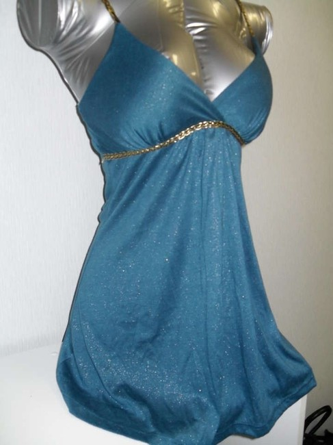 Other Top Blue w/gold spaghetti strap