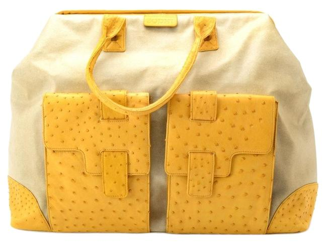 Item - Ostrich Doctor Yellow & Khaki Coated Canvas Weekend/Travel Bag