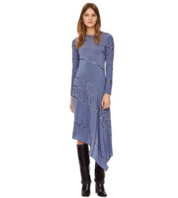 Tory Burch Blue Embellished Mid-length Night Out Dress Size 10 (M) Tory Burch Blue Embellished Mid-length Night Out Dress Size 10 (M) Image 1