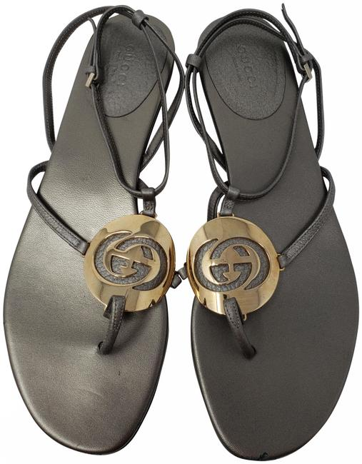 Item - Grey Metallic Leather Gold-tone Gg Charm Sandals Size EU 39 (Approx. US 9) Regular (M, B)