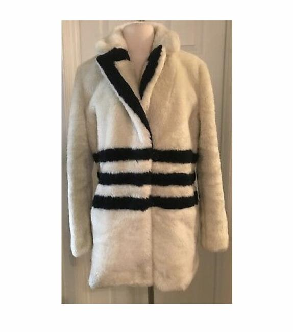Item - Ivory Navy L The Teddy In Striped Plush Fleece Coat Size 12 (L)