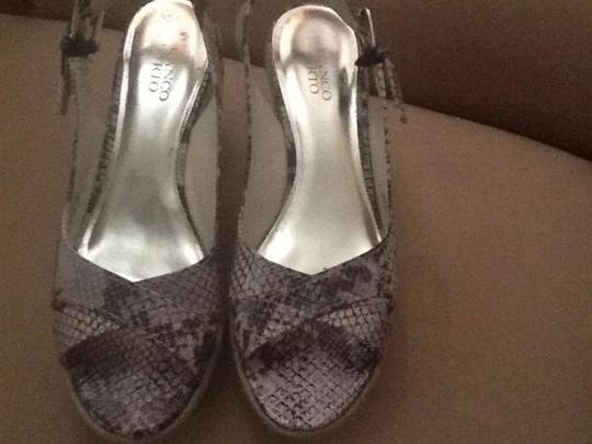Franco Sarto Slingback's Scandals Brown Faux Snakeskin Wedges