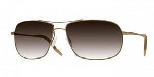 Oliver Peoples Farrell Chrome Gold Sunglasses with Mineral Chocolate Gradient Lens