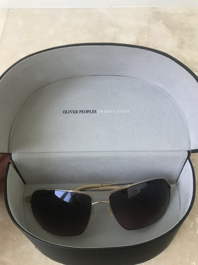 Oliver Peoples Farrell Chrome Gold Sunglasses with Mineral Chocolate Gradient Lens Image 1