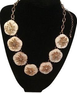 Anna & Ava Anna & Ava Gold/Ivory Color Floral Bib Statement Necklace