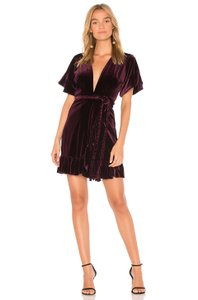 MISA Los Angeles Velvet Ruffle Braided Dress