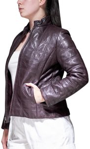 Cole Haan Leather Lambskin Quilted Luxury Motorcycle Jacket