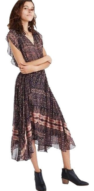 Item - Brown Multi Color Farrah Silk Mid-length Casual Maxi Dress Size 8 (M)
