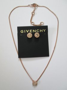 Givenchy Pink Crystal Rose Gold Stud Earrings Chain Pendant Necklace Set