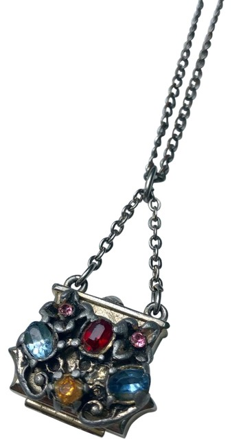 Item - Silver Hinged Purse Necklace