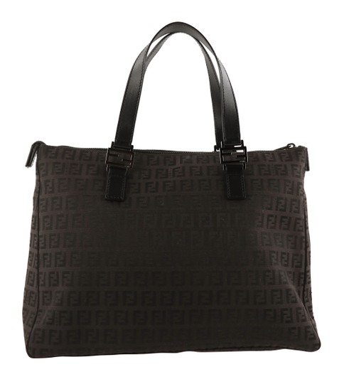 Fendi Canvas Leather Tote in Brown Image 1