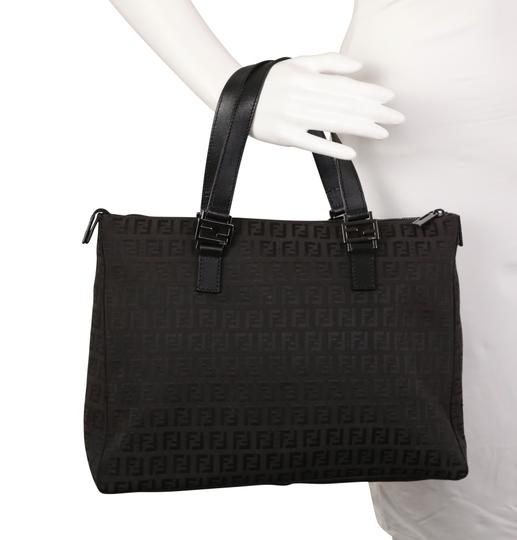 Fendi Canvas Leather Tote in Brown Image 10