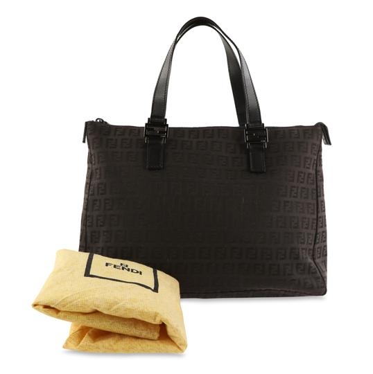 Fendi Canvas Leather Tote in Brown Image 11
