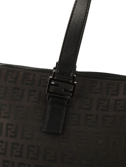 Fendi Canvas Leather Tote in Brown Image 6