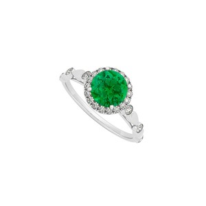 Marco B May Birthstone Round Emerald and Diamonds Engagement Ring in 14K White