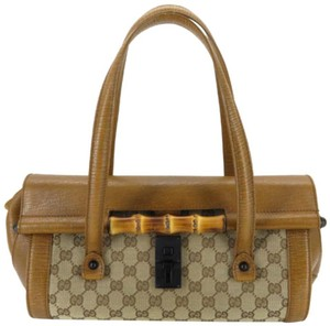 Gucci Bullet Boston Joy Speedy Bamboo Satchel in Brown