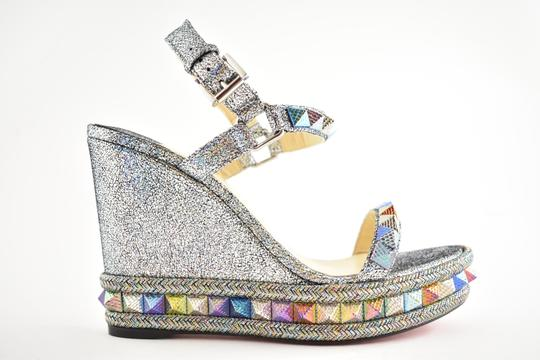 Christian Louboutin Pigalle Stiletto Classic Galeria Studded silver Wedges Image 1