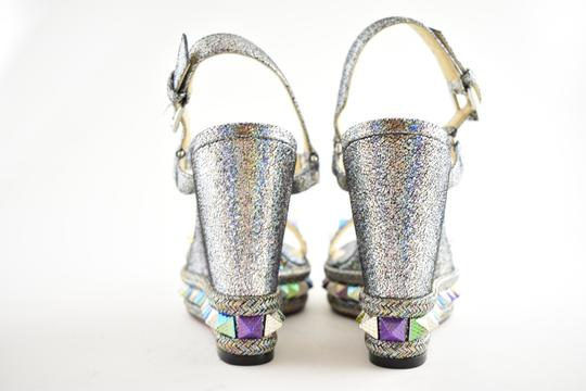 Christian Louboutin Pigalle Stiletto Classic Galeria Studded silver Wedges Image 10