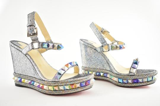Christian Louboutin Pigalle Stiletto Classic Galeria Studded silver Wedges Image 2